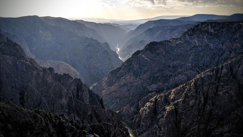 The sunset view into the Black Canyon of the Gunnison looks a bit too similar to the Mountains of Shadow in Mordor.