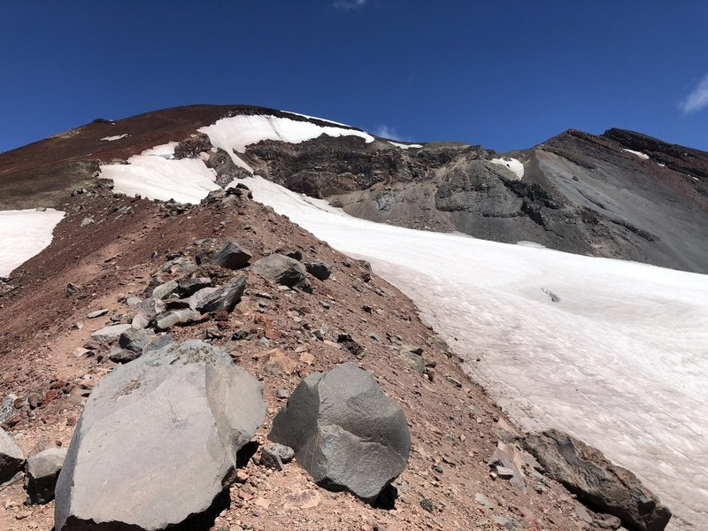 Climbing along the Lewis Glacier.