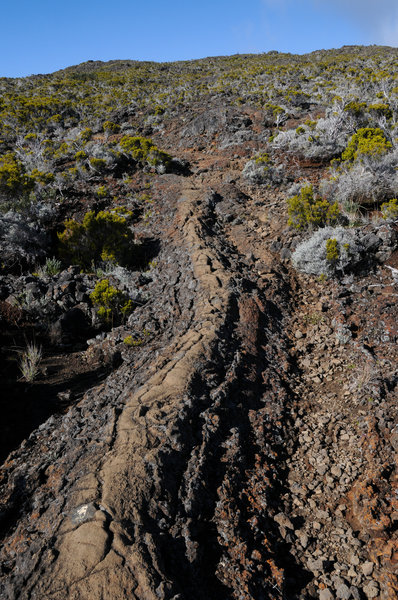 One section of the trail follows a cool volcanic rock formation