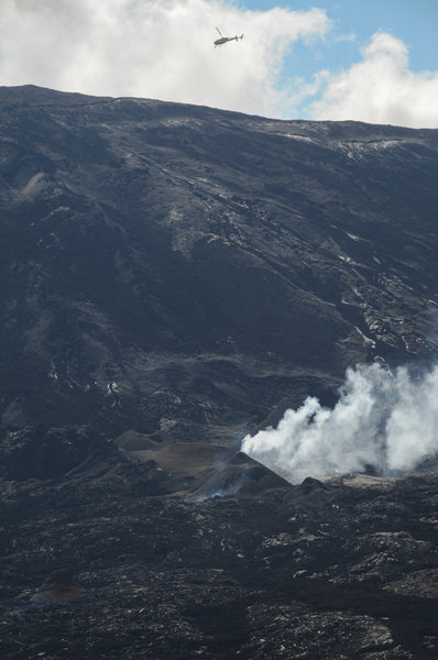 The tour helicopters get pretty close to the eruptions. This hiker was a little jealous.