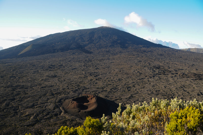 Formica Leo is a cone named for it's resemblance of a sand lion trap that the main trail to the summit of Piton de la Fournaise passes.