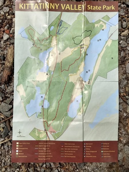 This is an official trail map of Kittatinny Valley State Park