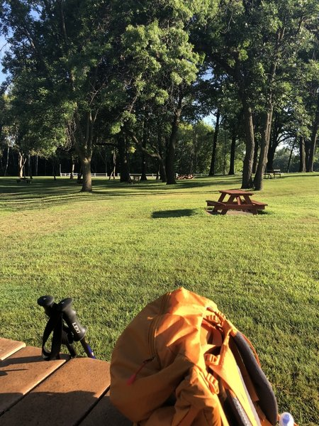 Numerous picnic tables at Becker City Park