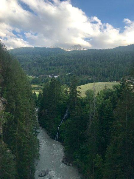 Evening light from the suspension bridge above Ötztaler Ache river.