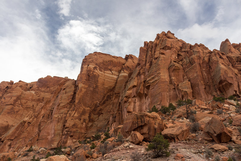 The towering canyon walls along Chimney Rock Canyon