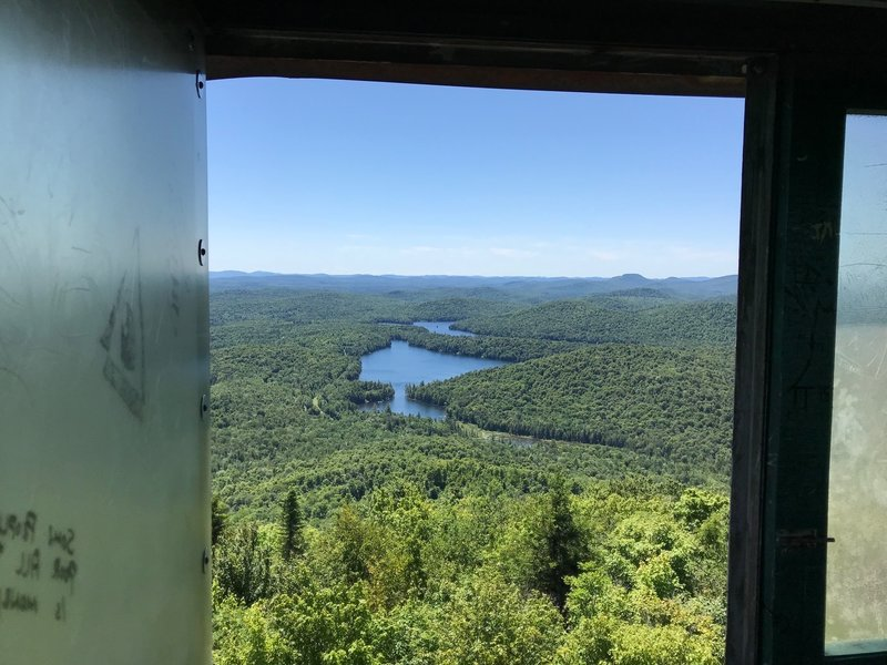 View from inside tower cab, looking NE toward Ampersand Mt
