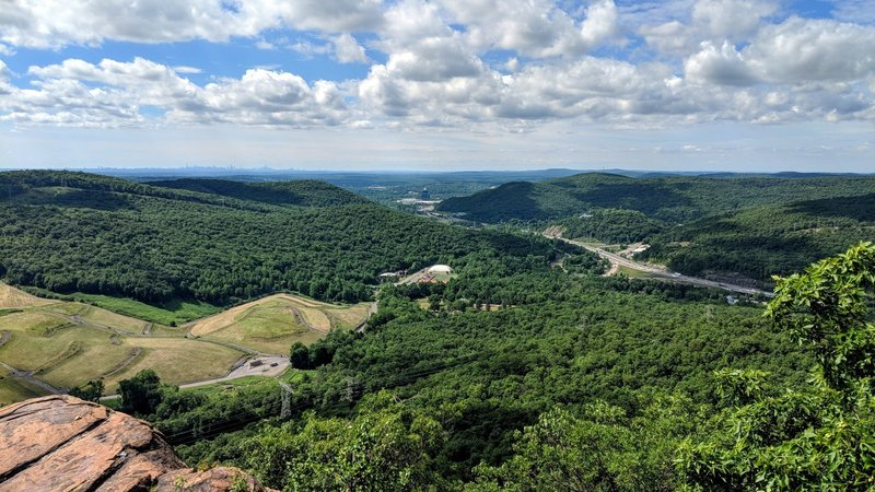 A great day to scramble up Ramapo Torne in Harriman State Park. Below is I-87 and far in the distance is the New York City skyline.