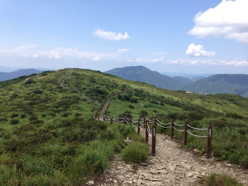 Walking on hilly land in Youngnam alps