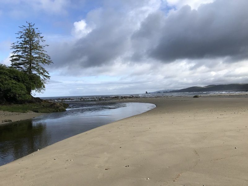 The river as it flows out to the ocean.
