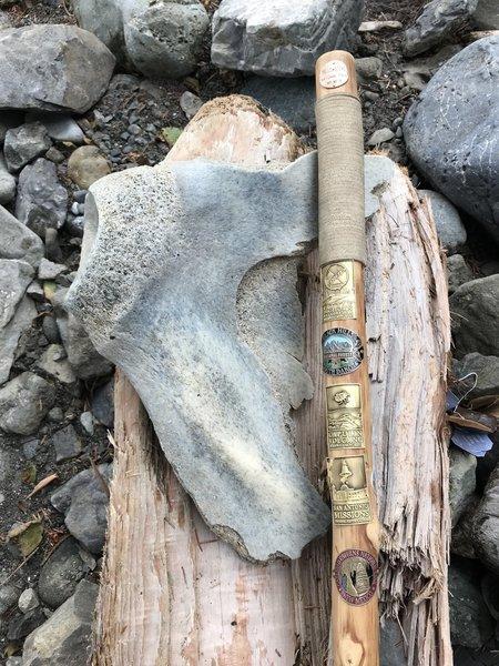 A whale bone found on the beach.