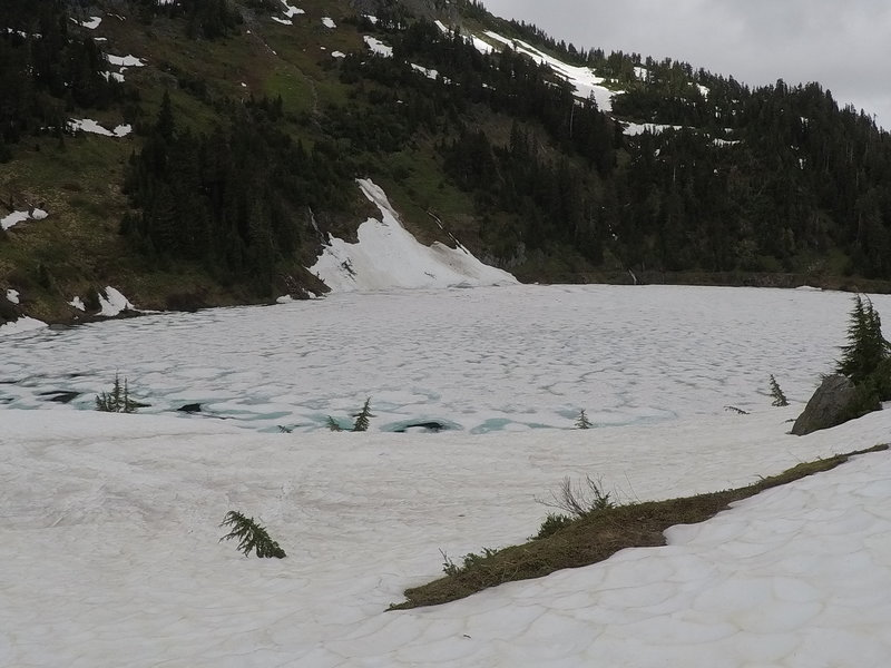 One of the Twin Lakes, covered in ice.