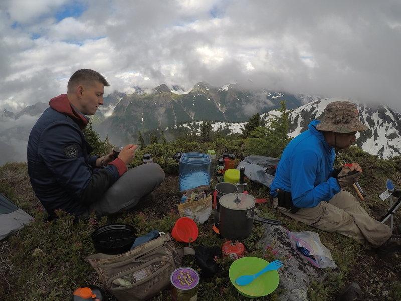 Eating dinner on the mountain.