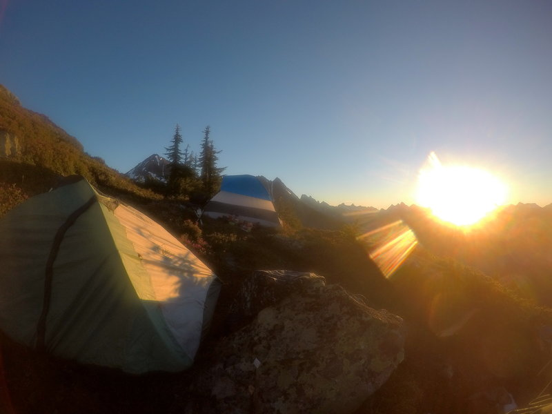 Sunrise over the camp.