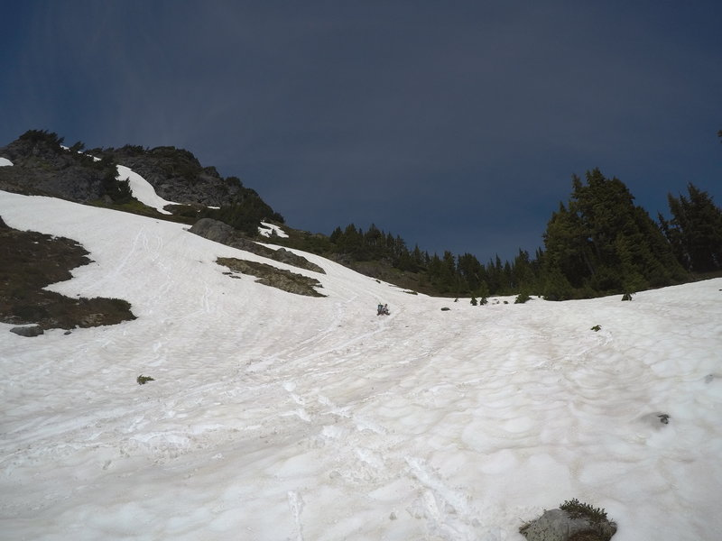 Sliding back down the snowfields.