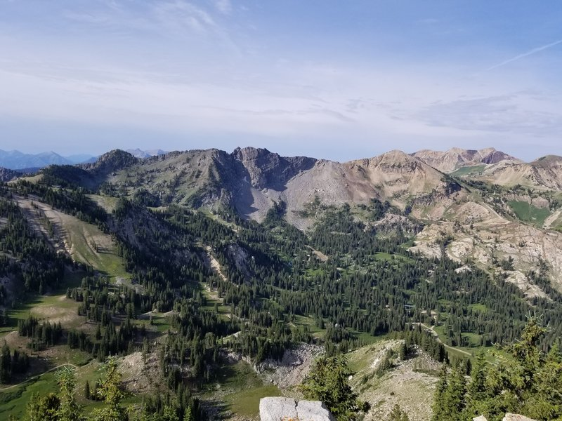View from top of Mount Wolverine with Devil's Castle in the distance.