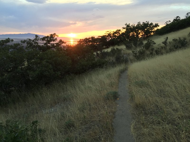 Enjoying the sunset along the Bonneville Shoreline Trail.