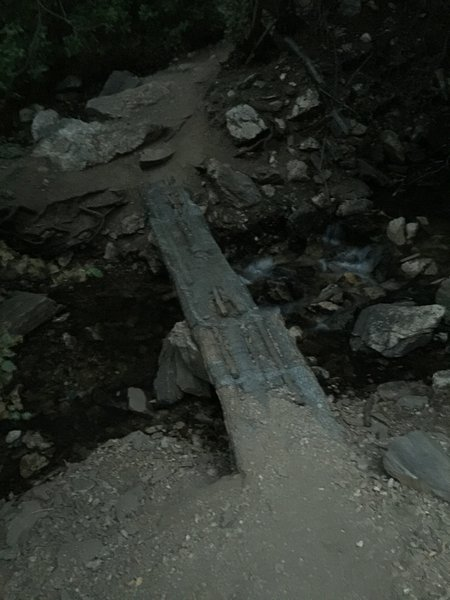 You'll cross many worthy bridges such as this one on your way into Deuel Creek. They're nice and grippy.