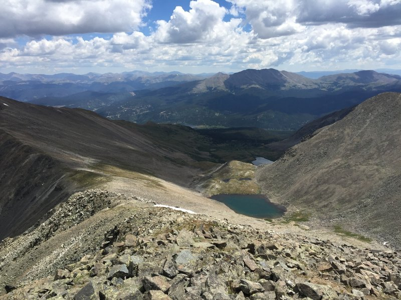 From the summit of Crystal Peak.  Looking down at upper Crystal lake and the descent ridge towards Peak 10