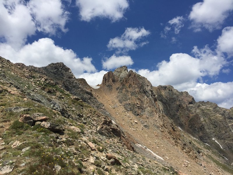 The steep summit block of the Citadel.  You head around the back left side and up a steep gully to get to the summit