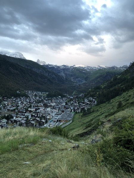Looking back on the town of Zermatt on the first ascent.