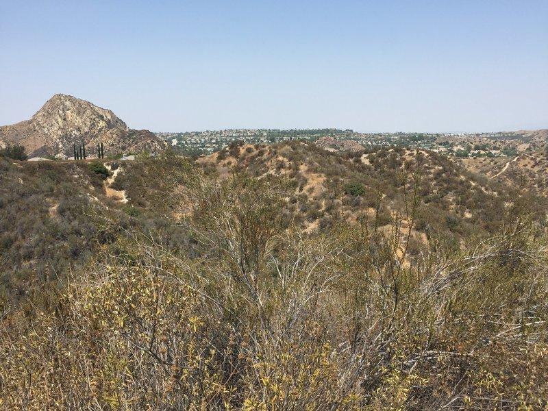 Pico Canyon Park trail - view from the top of the 340 step hill. You can see Stevensons Ranch community and wilderness.