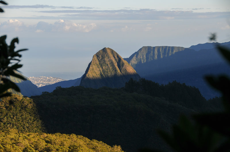 An early view over Cirque de Mafate to (L to R) Saint Denis, Piton Cabris, and Dos d'Ane