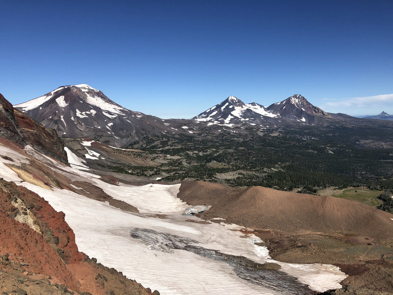 View of three sisters from ridge