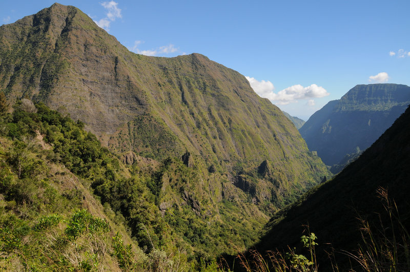 Excellent views of Piton Cabris and Dos d'Ane from the narrow ridge section of Sentier Augustave