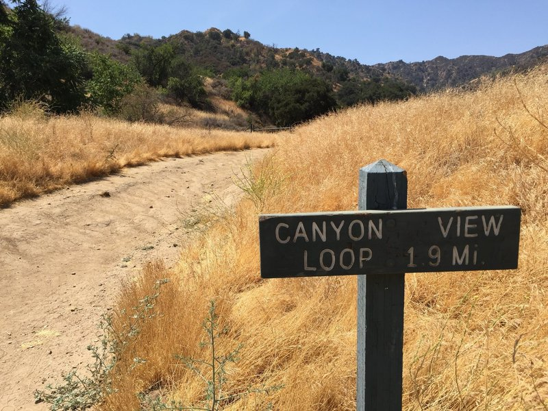Trailhead of Canyon View Loop trail.