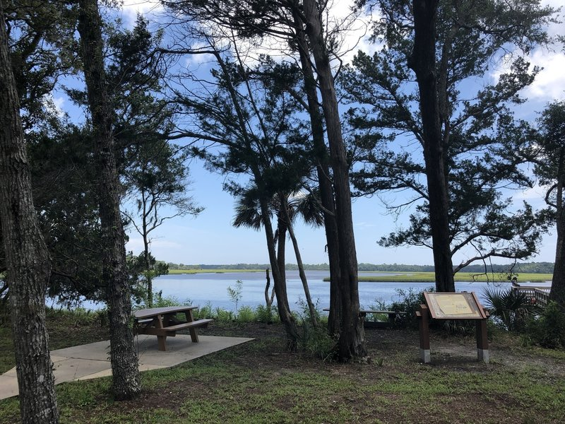 picnic area next to fishing spot
