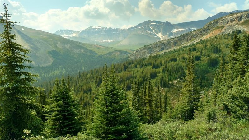Forested hills, ridges, and snowy moubtains to the east, as seen from Pobotkan Pass Trail, as the trail begins its descent to the John-John Trail Camp.