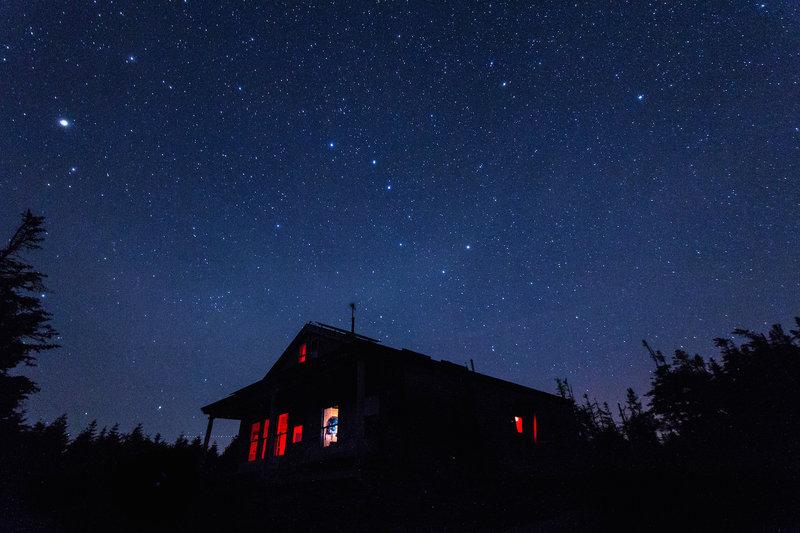 Galehead hut, night view