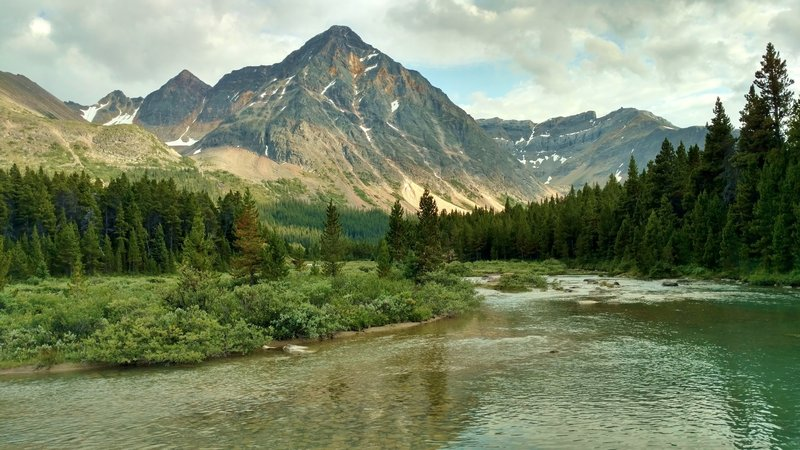Evening along the Brazeau River at the Four Point Trail Camp