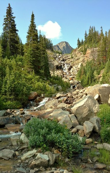 A creek tumbles down a waterfall to flow into Four Point Creek. Several of these side creeks get rock hopped or splashed through on the Jonas Pass Trail.
