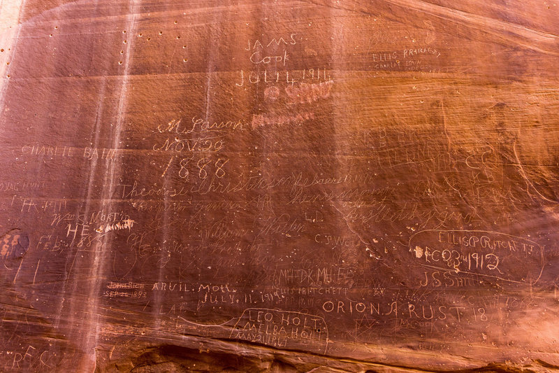 The Pioneer Register shows some of the early explorers of Capitol Gorge.
