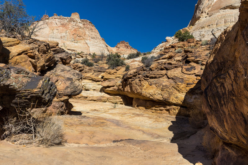 Dry water tanks above Capitol Gorge.