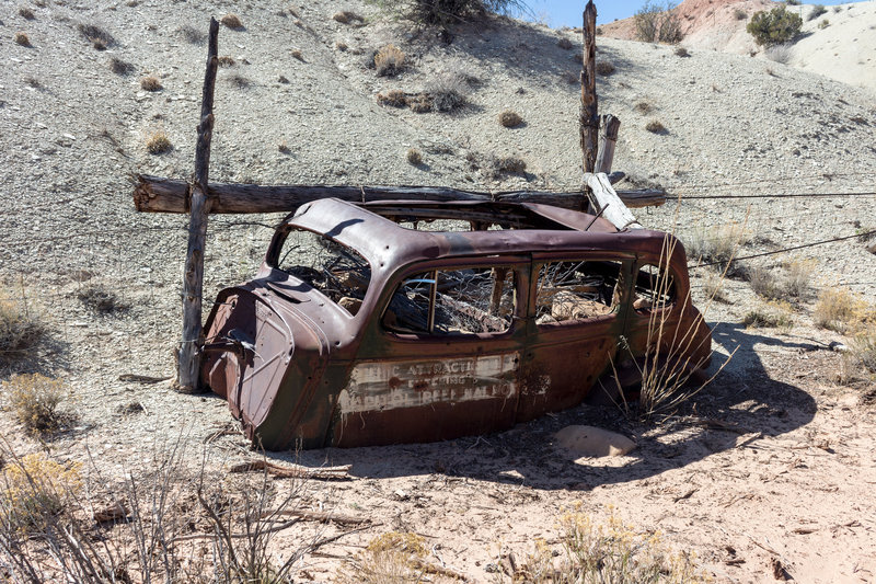 .The surprise at the end of Capitol Gorge Trail, just outside the park: The remnants of an old rusty car
