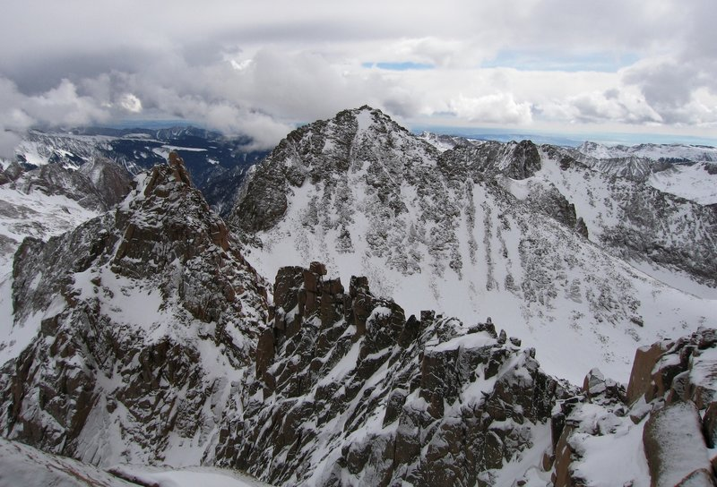 Sunlight Spire and Windom Peak from Sunlight Peak. The last day of good weather.