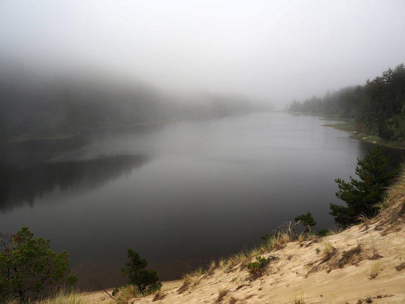 Threemile Lake on a foggy morning.