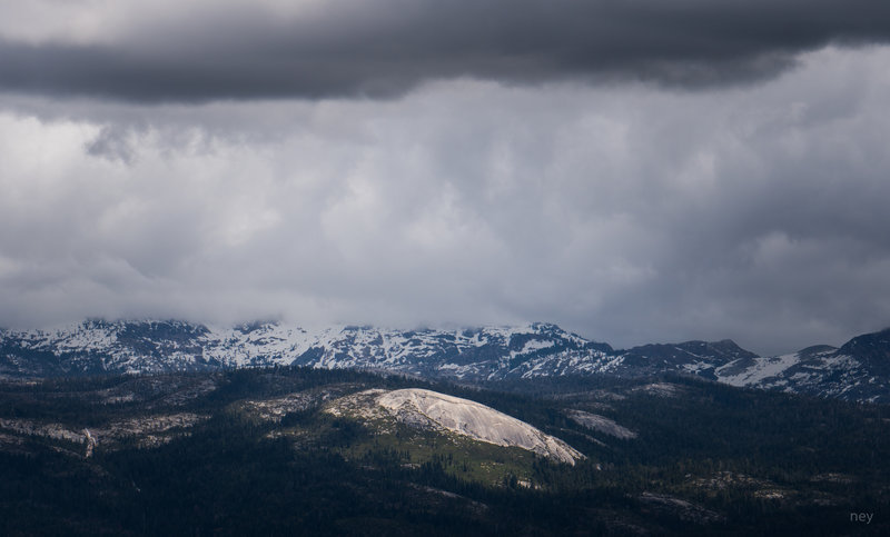 Slick Rock Dome from Big Hill Fire Lookout. High Sierra in background.
