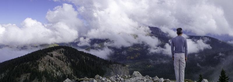 Enjoying the view from Lake Peak.