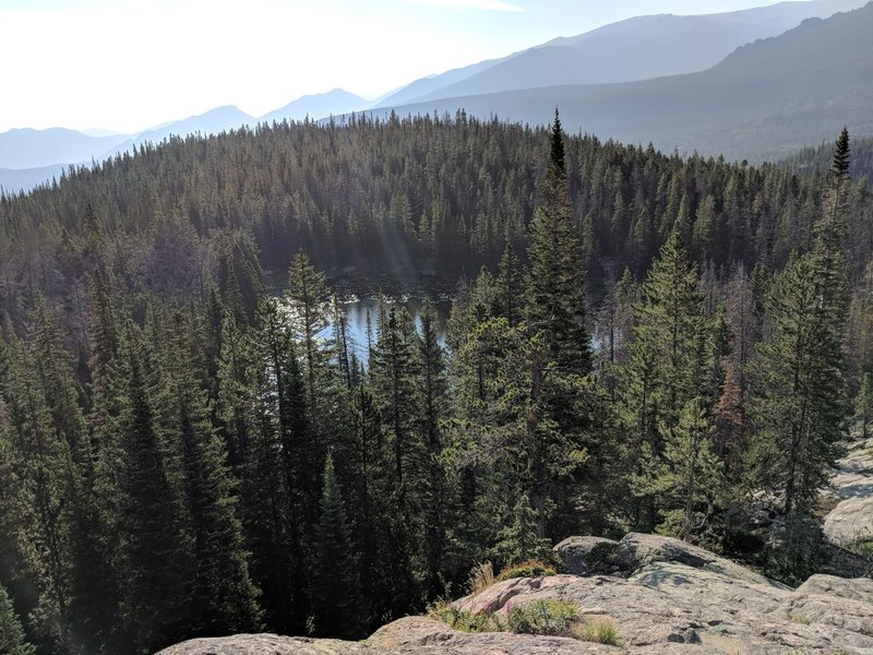 Looking down on Nymph Lake.