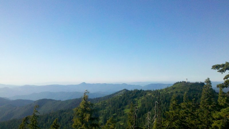 View from the top of Bohemia Mountain with the Fairview Peak watchtower in the midground.