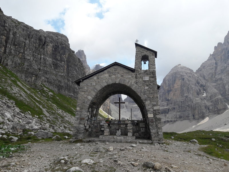 Church near Rifugio Brentei - The (unfortunately too many) names on the walls remind you that the mountain is beautiful but you have to be careful