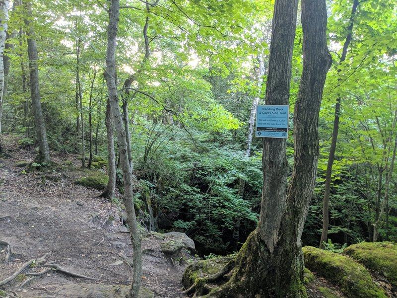 Standing Rock and Caves sidetrail marker