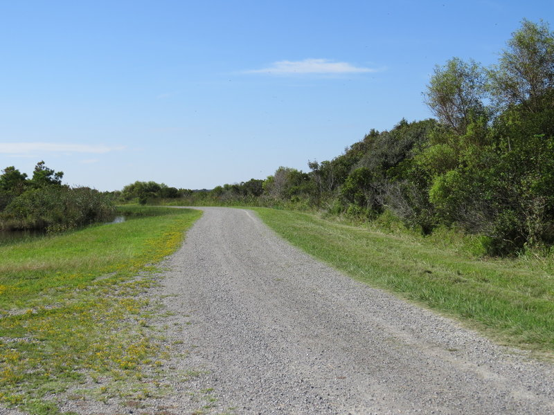 Start of West Dike Trail at the right hand side of the fork