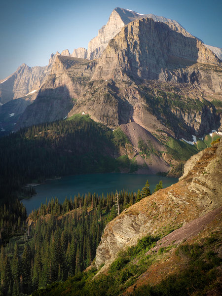 Grinnell Lake (center) and surrounding mountains as seen from the ascent to Upper Grinnell Lake.