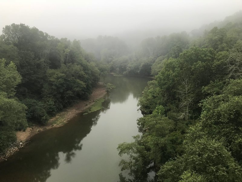 Looking south along South Fork Cumberland River at Blue Heron Mining Camp bridge