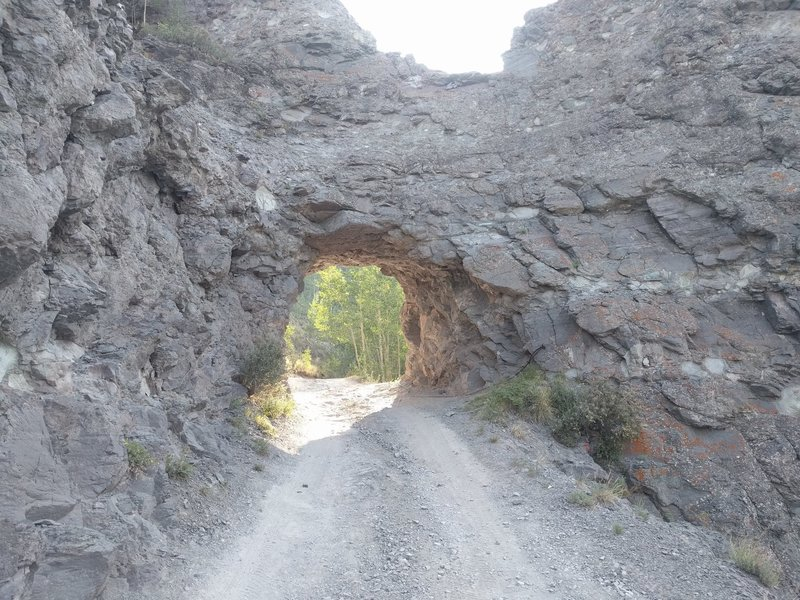 Rock tunnel on the road between Imogene Pass and Telluride