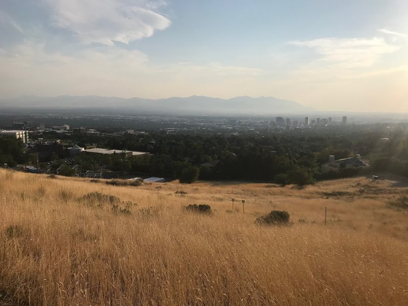 A view into downtown Salt Lake from the Bonneville Shoreline Trail, with some bad wildfire smoke in the background